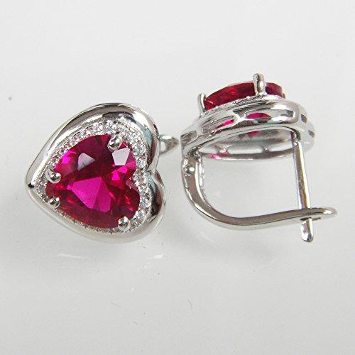 925 Sterling Silver 18k White Gold Plated 7.5ct Heart Ruby Az9138e Stud Earrings