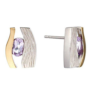 Silverly 925 Sterling Silver Amethyst Triangle Cut Musical Note Dangle Earrings