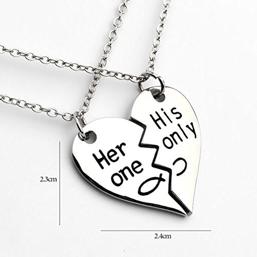 Silver Color Her One, His Only Engraved Couple Necklaces - InnovatoDesign