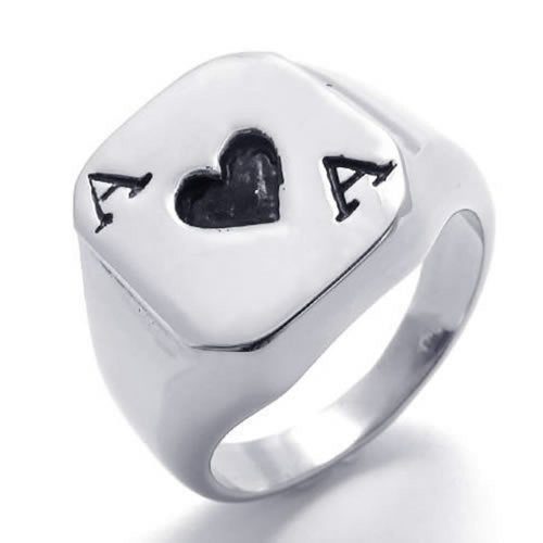 Stainless Steel Band A of Hearts The Ace of Spades Biker Men Ring, Black