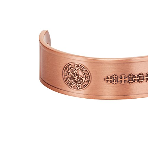 Knights Templar Cross Men's Pure Copper Magnetic Therapy Adjustable Bracelet Bangle - InnovatoDesign