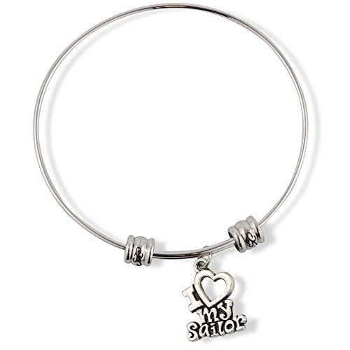 I Love My Sailor Fancy Charm Bangle - InnovatoDesign