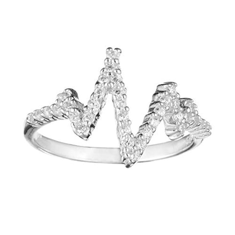 Elegant Sterling Silver Cubic Zirconia Wave Heart Beat Ring