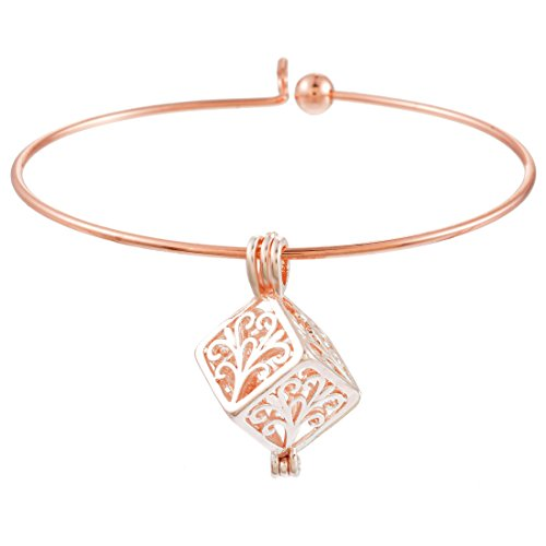 Women Aromatherapy Essential Oils Diffuser Bangle Gold Rose Color Bracelet