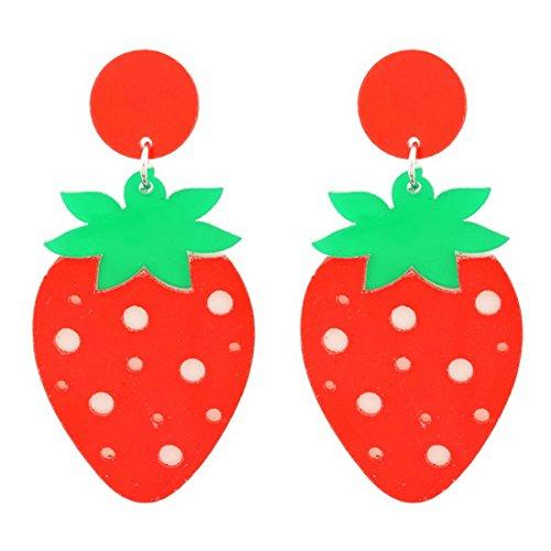 Girls Red Yellow Strawberry Dangle Earrings