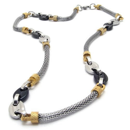 Men Stainless Steel Necklace Link Chain - Gold Black Silver - InnovatoDesign