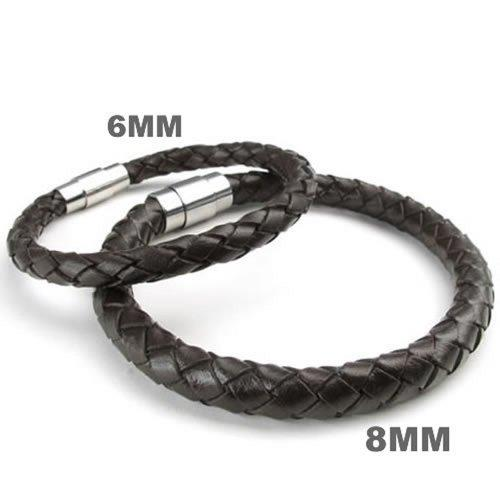 "8mm Brown Leather Men Bracelet Magnetic Stainless Steel Clasp, 8mm - 8"", 8.5"", 9"""