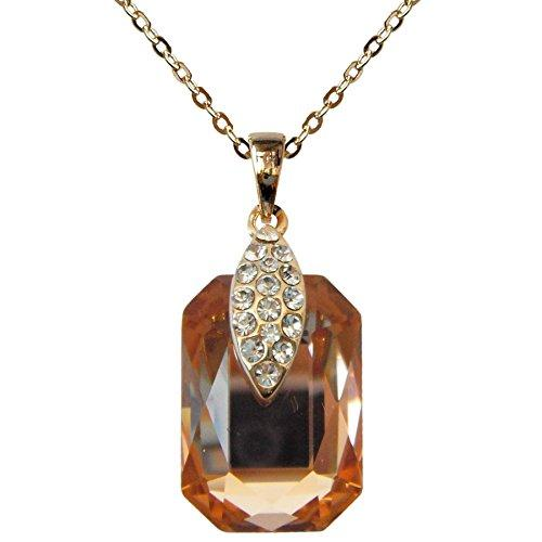 "18k Gold Plated Crystal Champagne Square Zircon Az6023p Pendant Necklace 16""+2"""