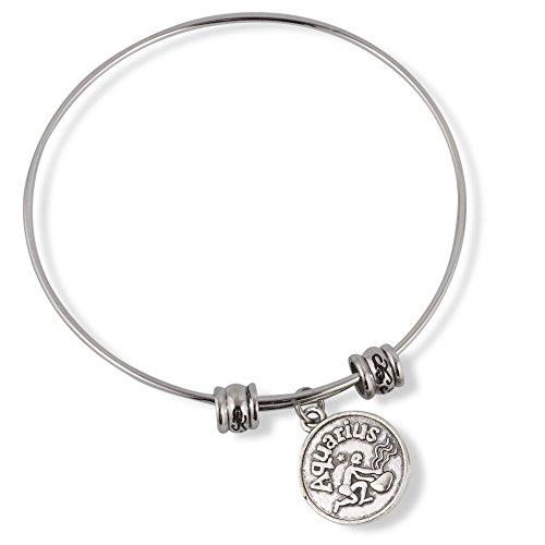 Aquarius Horoscope Astrology Fancy Charm Bangle