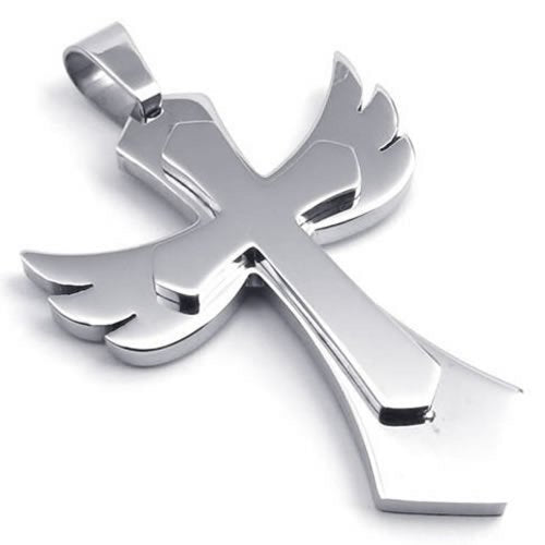Stainless Steel Angel Wing Cross Men Women Pendant Necklace, 24 inch Chain - InnovatoDesign