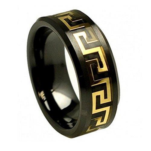 8mm Black Ceramic Wedding Band Ring Yellow Gold Plated Greek Key Over Black Carbon Fiber Inlay