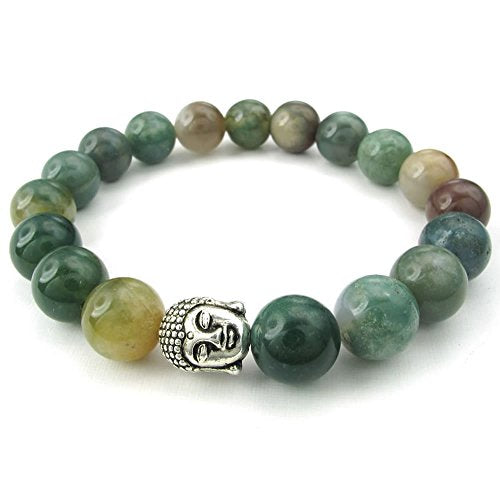 India Agate Men Women Bracelet, Energy Bead, Buddha Mala, Green Silver - InnovatoDesign
