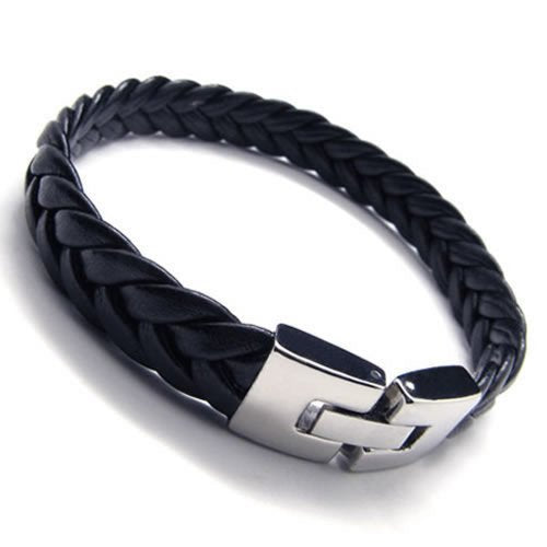 Men Leather Bracelet, Stainless Steel Clasp, Black Silver, 9 Inch