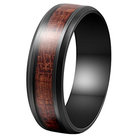 Black Stainless Steel and Koa Wood Inlay Comfort Fit Ring