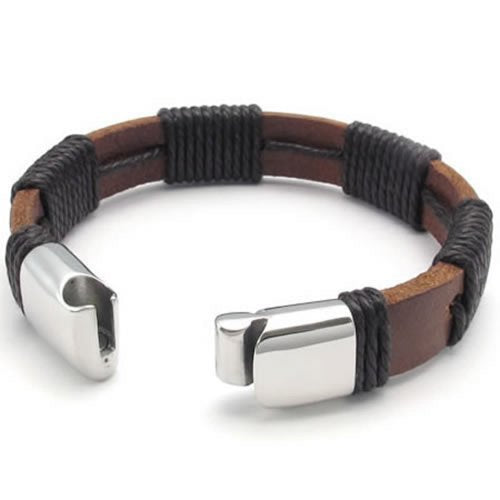 "Men Surfer Brown Leather Bracelet Stainless Steel Clasp, 12mm - 8"", 8.5"", 9"" inches - InnovatoDesign"