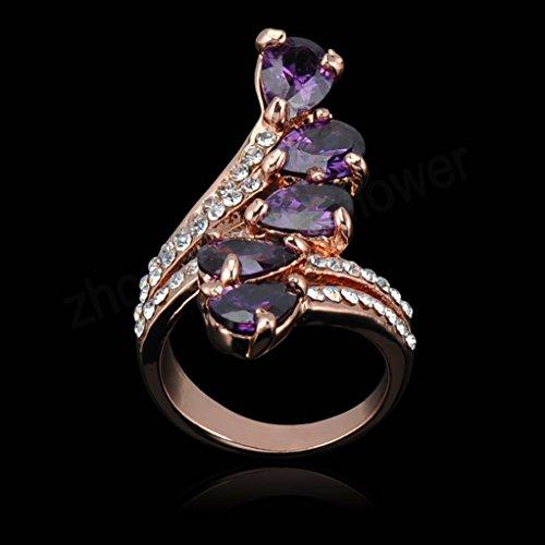 18k Gold Plated Leaves Purple Zirconia Crystal Az0226Ar Ring (Available in Sizes 5.5 7 8 9 10 11.5)