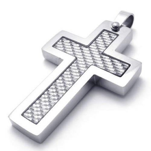 Carbon Fiber Stainless Steel Cross Men Women Pendant Necklace, 24 inch Chain