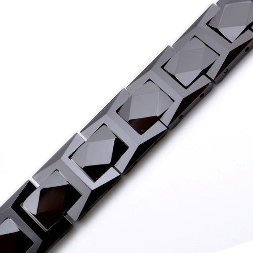 12 mm Black Tungsten Magnetic Hematite Men Bracelet 8