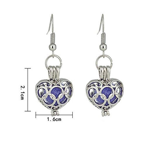 Silver Color Filigree Circle Heart Aromatherapy Essential Oil Diffuser Dangle Earrings - InnovatoDesign