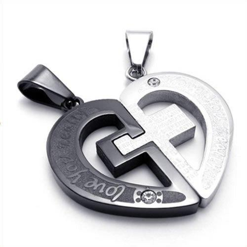 2pcs Men Women Couples Heart Cross Stainless Steel Pendant Love Necklace, 18 & 22 inch Chain