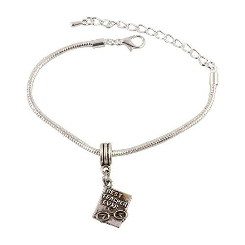 Best Teacher Ever Snake Chain Charm Bracelet