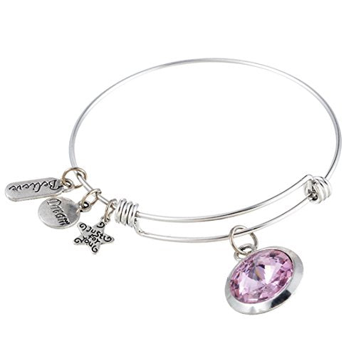 Silver Color June Expandable Wire Bangle Charm Bracelet - InnovatoDesign