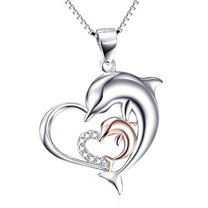 Sterling Silver Two Dolphins Charm on a Box Chain Necklace