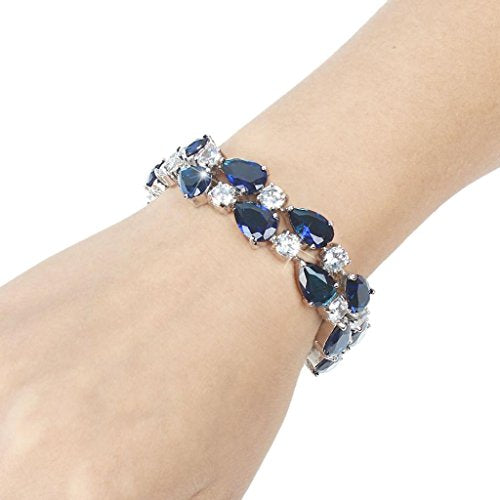 Women's Prong Cubic Zirconia Vintage Style Dual Layer Tear Drop Bracelet - InnovatoDesign