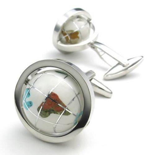 2 Pcs Rhodium Plated Men Shirts Cufflinks Wedding, Vintage White Globe, White Silver, 1 Pair