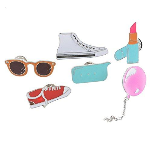 Children Novelty Glasses Lipstick Brooch Pin Badge Button Set of 6