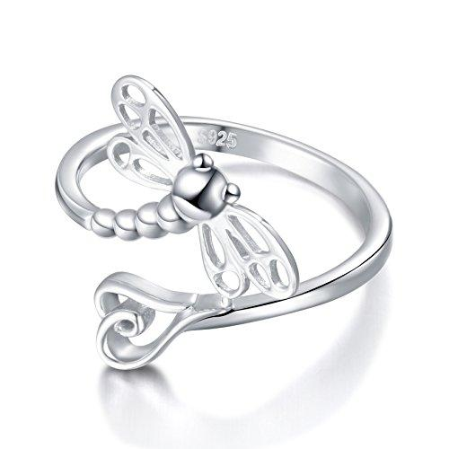 925 Sterling Silver Open Heart Dragonfly Rings for Women Resizable Ring