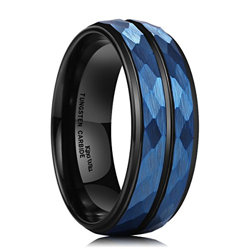 Men's 8 mm Blue Hammered Tungsten Carbide Ring Black Two Tone Wedding Band Groove Step Edge Comfort Fit - InnovatoDesign