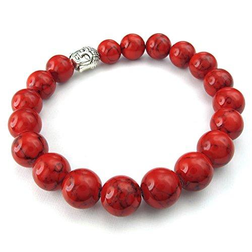 10-12mm Natural Energy Stone Beads Gemstone Men Women Bracelet, Buddha Mala, Red Silver