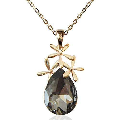 "18k Gold Plated Crystal Leaves Gray Pear-shaped Zirconia Az6349p Pendant Necklace 16""+2"""