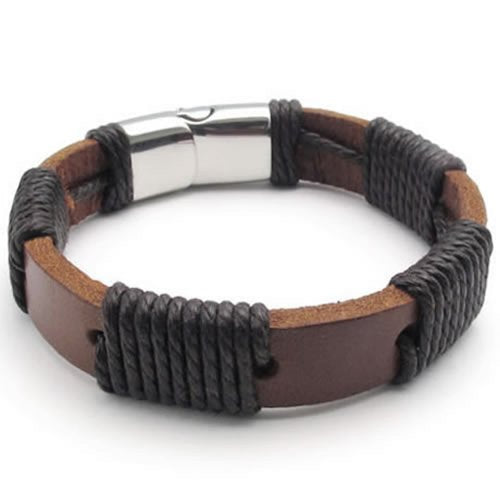 "Men Surfer Brown Leather Bracelet Stainless Steel Clasp, 12mm - 8"", 8.5"", 9"" inches"