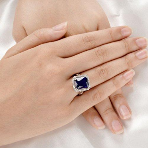 925 Sterling Silver Blue Sapphire Color 3 Carat Radiant Cut CZ Engagement Ring
