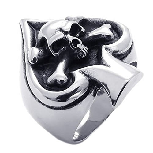 Vintage Gothic Skull Biker Tribe Ace of Spades Stainless Steel Men Ring