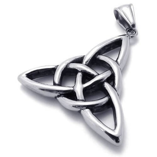 "Vintage Stainless Steel Celtic Knot Amulet Pendant Men Women Necklace, 24"" Chain - InnovatoDesign"