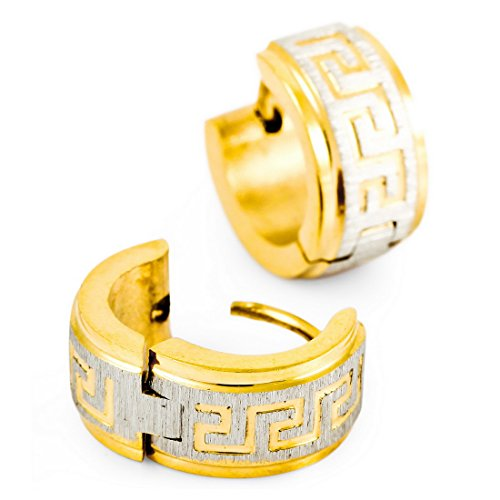 Men's Stainless Steel Hoop Stud Earrings Gold Silver Tone Greek Vintage - InnovatoDesign