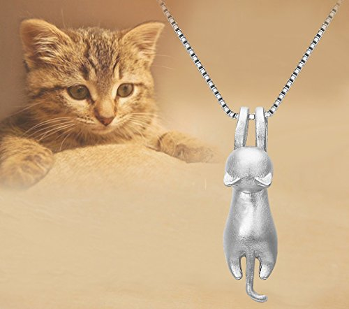 Sterling Silver Lovely 3D Hanging Cat Animal Adjustable Necklace / Bracelet / Earrings - InnovatoDesign