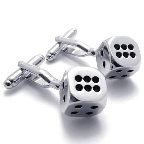 2pcs Rhodium Plated Classic Personalized Lucky Dice Shirts Men Cufflinks, Silver Black, 1 Pair