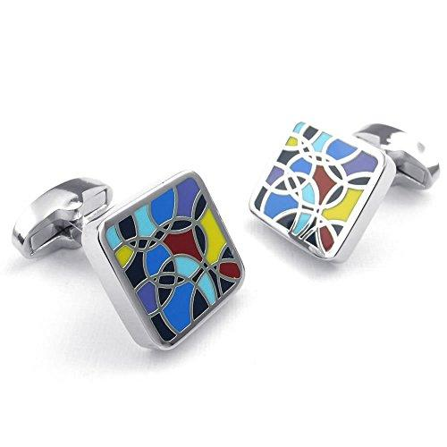2pcs Rhodium Plated Men Classic Square Shirts Cufflinks, Wedding, Red Blue Silver, 1 Pair