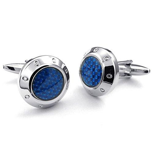 2 Pcs Rhodium Plated Men Classic Rounded Shirts Cufflinks, Wedding, Blue Silver, 1 Pair