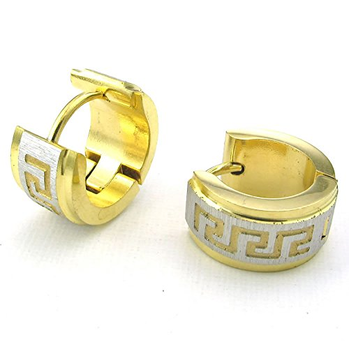 Men Stainless Steel Stud Huggie Hoop Earrings Set, Gold Silver
