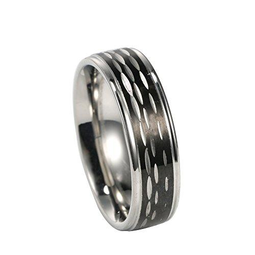 6mm Stainless Steel Silver, Black Ip Dia Cut Center Shiny Finish Steel Edges Ring,sizes 5-14