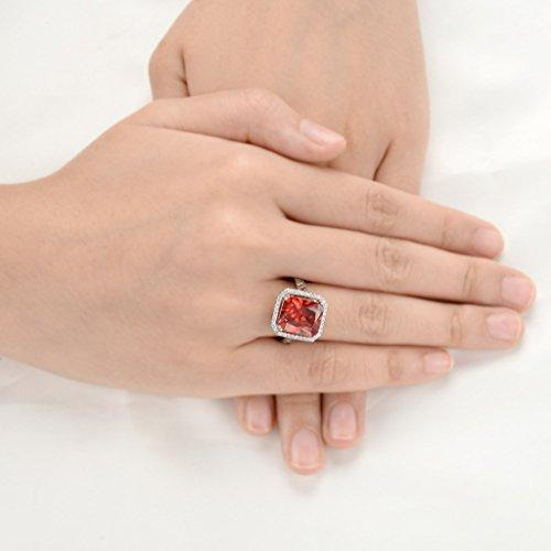 925 Sterling Silver 5 Carats Radiant Cut CZ Party Ring Red Ruby Color