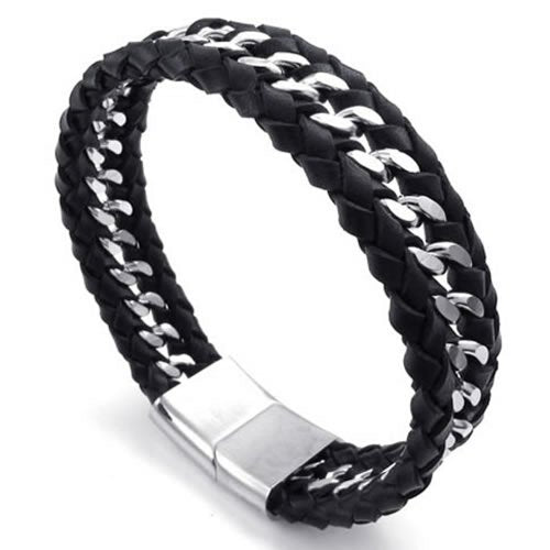 Men Leather Stainless Steel Bracelet, Wide Cuff Bangle, Black Silver - InnovatoDesign