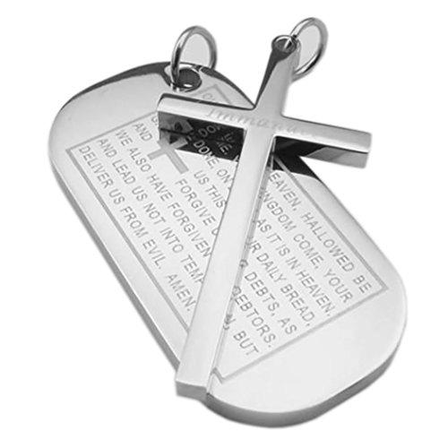 2pcs Men Stainless Steel Cross English Lord Prayer Dog Tag Pendant Necklace, 18 & 22 inch Chain