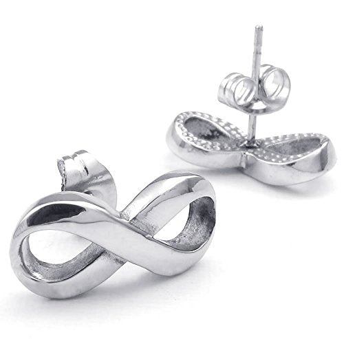 Women Stainless Steel Love Infinity Stud Earrings, Silver