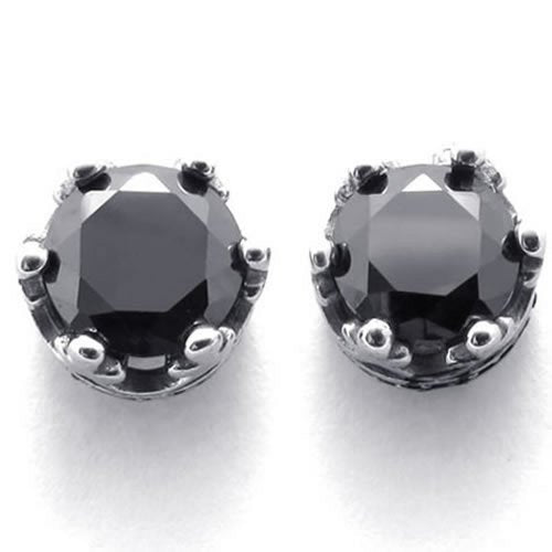 Vintage Stainless Steel CZ Men Royal Crown Stud Earrings Set, 2pcs, Black Silver - InnovatoDesign